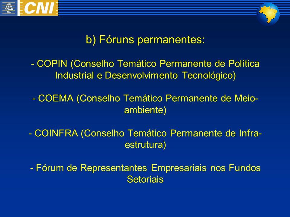 b) Fóruns permanentes: - COPIN (Conselho Temático Permanente de Política Industrial e Desenvolvimento Tecnológico) - COEMA (Conselho Temático Permanente de Meio-ambiente) - COINFRA (Conselho Temático Permanente de Infra-estrutura) - Fórum de Representantes Empresariais nos Fundos Setoriais