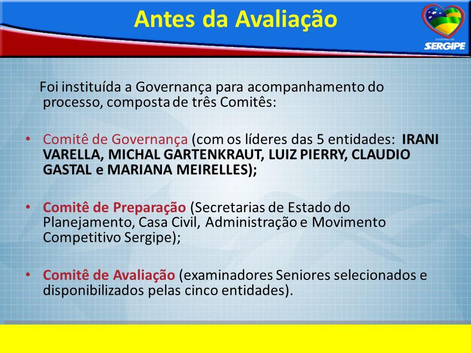 Antes da Avaliação Foi instituída a Governança para acompanhamento do processo, composta de três Comitês: