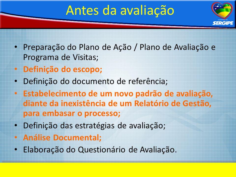 Antes da avaliação Preparação do Plano de Ação / Plano de Avaliação e Programa de Visitas; Definição do escopo;
