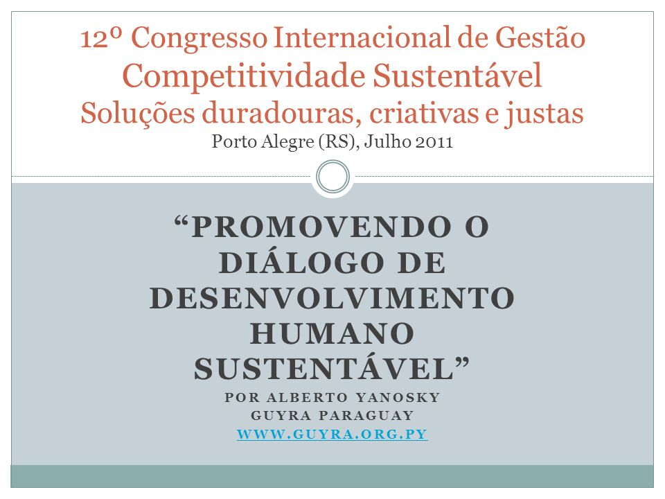 Promovendo o Diálogo de Desenvolvimento Humano Sustentável