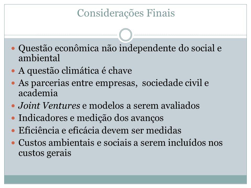 Considerações Finais Questão econômica não independente do social e ambiental. A questão climática é chave.