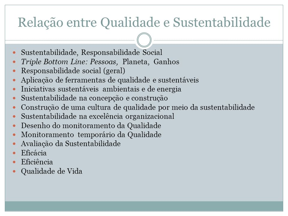 Relação entre Qualidade e Sustentabilidade