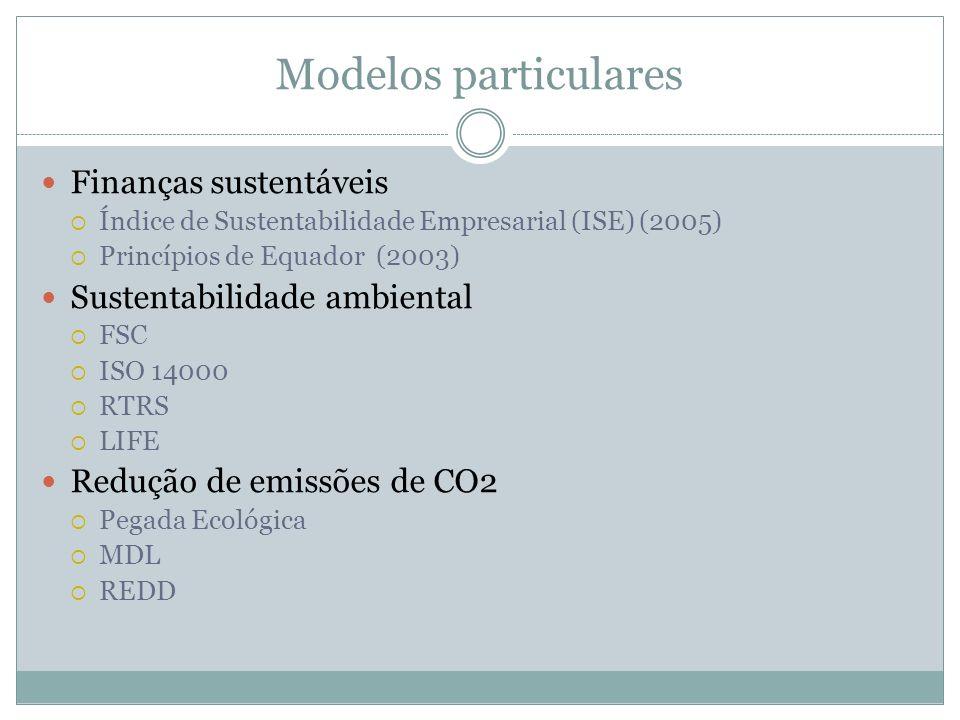 Modelos particulares Finanças sustentáveis Sustentabilidade ambiental