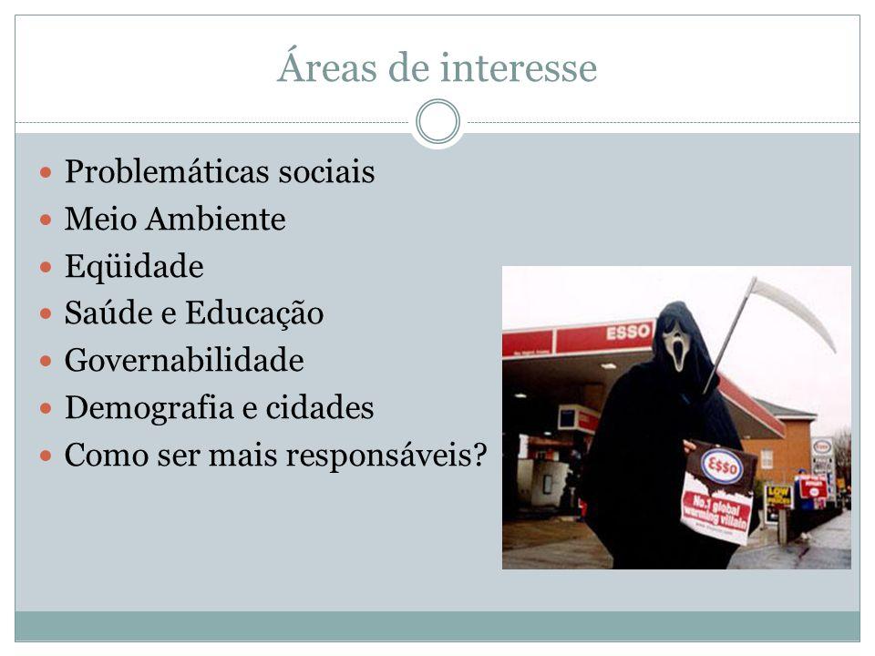 Áreas de interesse Problemáticas sociais Meio Ambiente Eqüidade