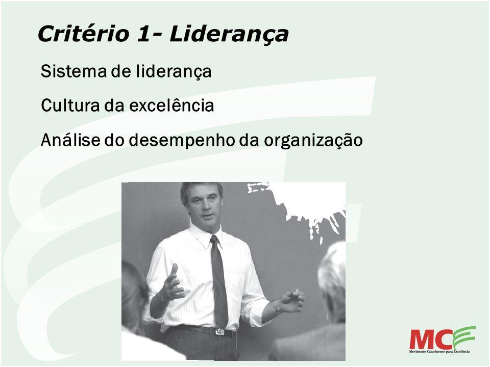 Critério 1- Liderança Sistema de liderança Cultura da excelência