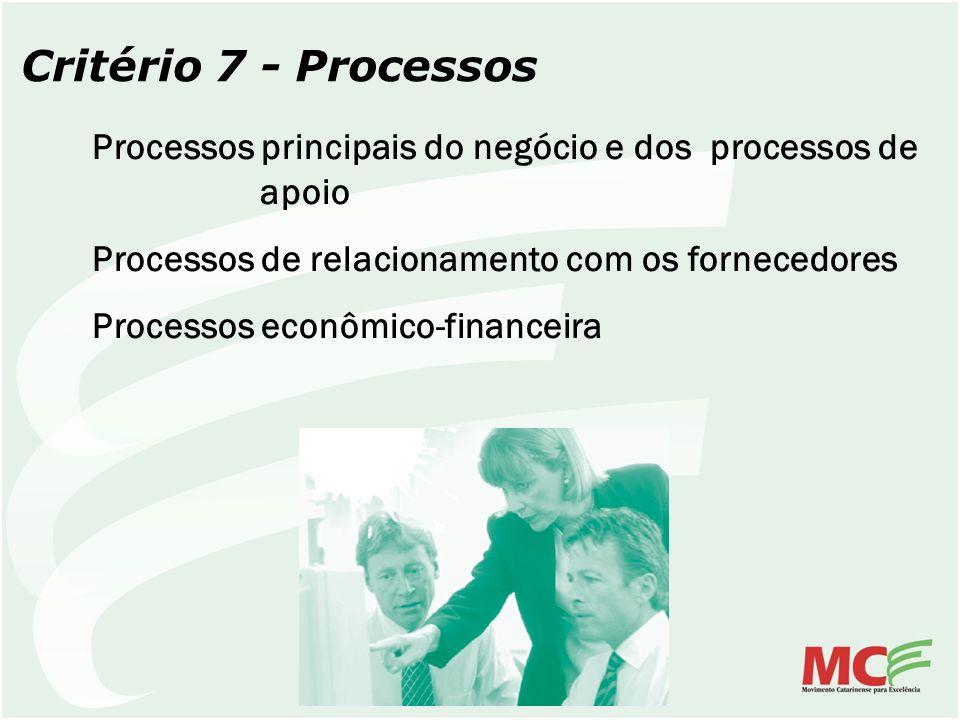 Critério 7 - Processos Processos principais do negócio e dos processos de apoio. Processos de relacionamento com os fornecedores.