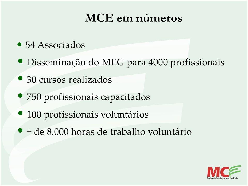 MCE em números Disseminação do MEG para 4000 profissionais