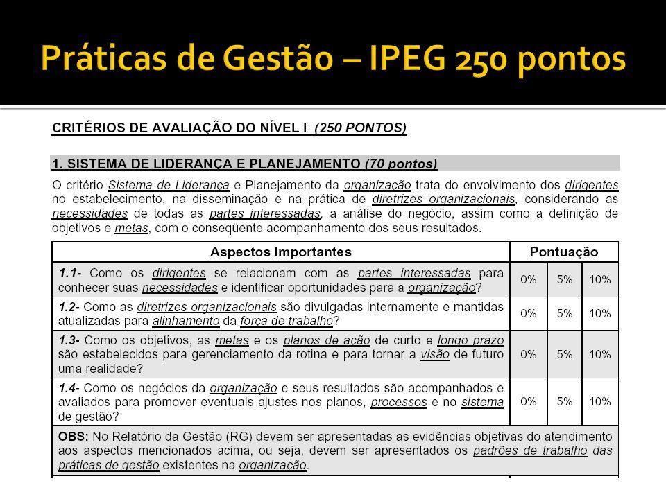 Práticas de Gestão – IPEG 250 pontos