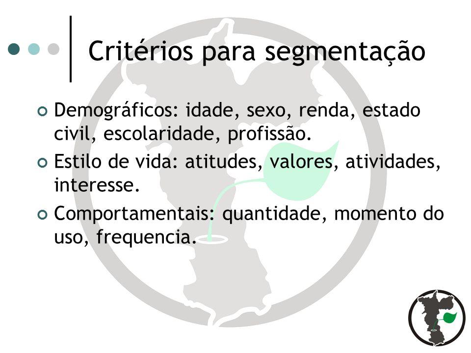 Critérios para segmentação