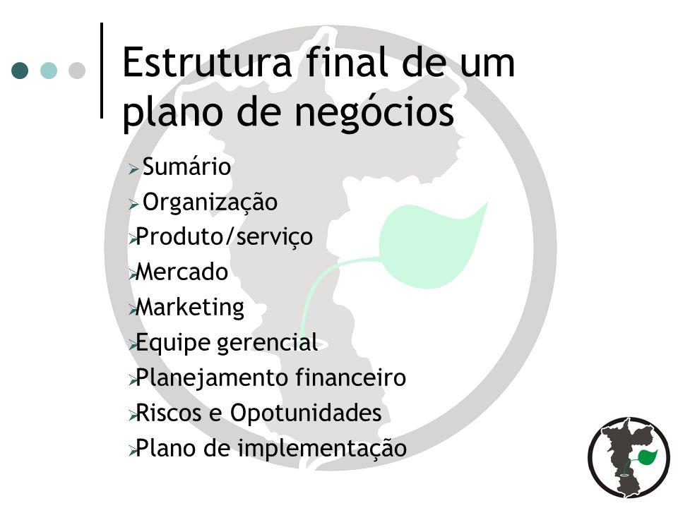 Estrutura final de um plano de negócios