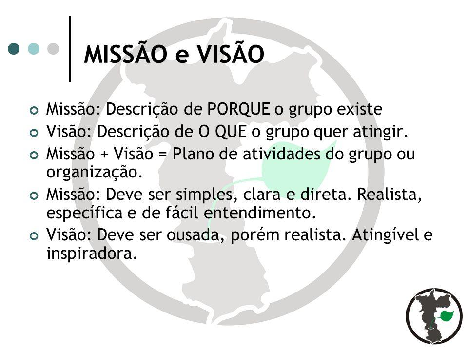 MISSÃO e VISÃO Missão: Descrição de PORQUE o grupo existe