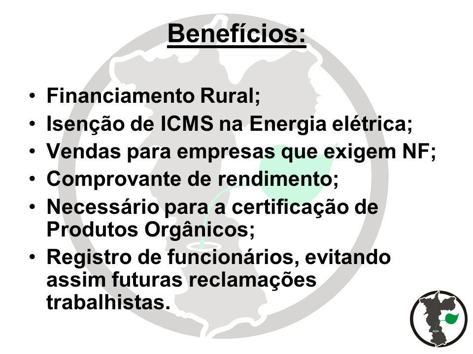 Benefícios: Financiamento Rural; Isenção de ICMS na Energia elétrica;