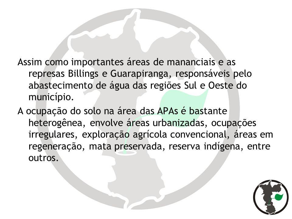 Assim como importantes áreas de mananciais e as represas Billings e Guarapiranga, responsáveis pelo abastecimento de água das regiões Sul e Oeste do município.