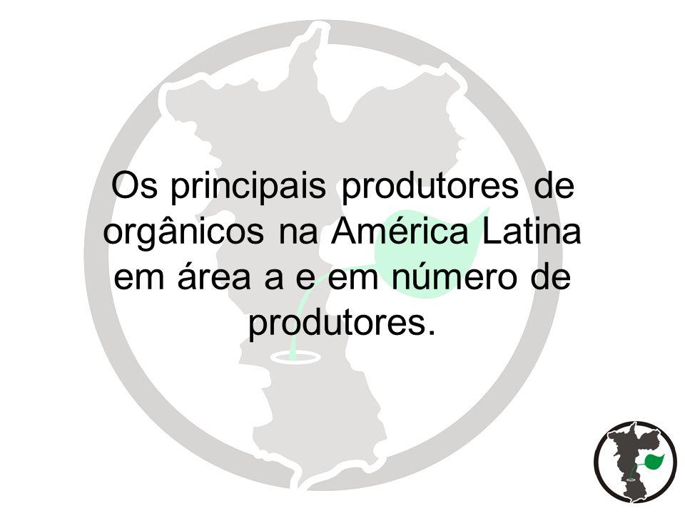 Os principais produtores de orgânicos na América Latina em área a e em número de produtores.