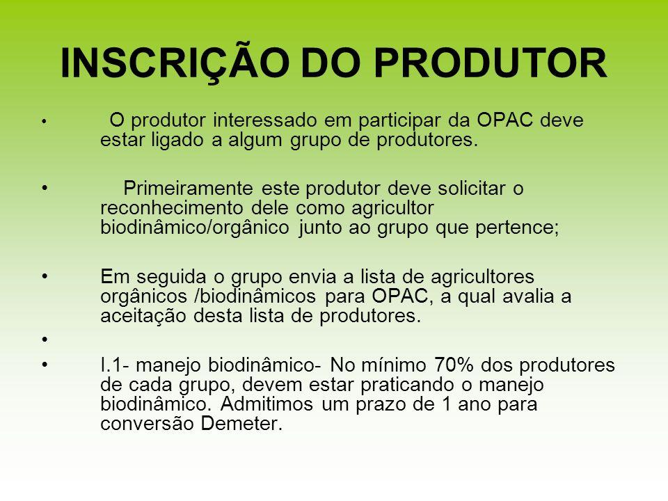INSCRIÇÃO DO PRODUTORO produtor interessado em participar da OPAC deve estar ligado a algum grupo de produtores.