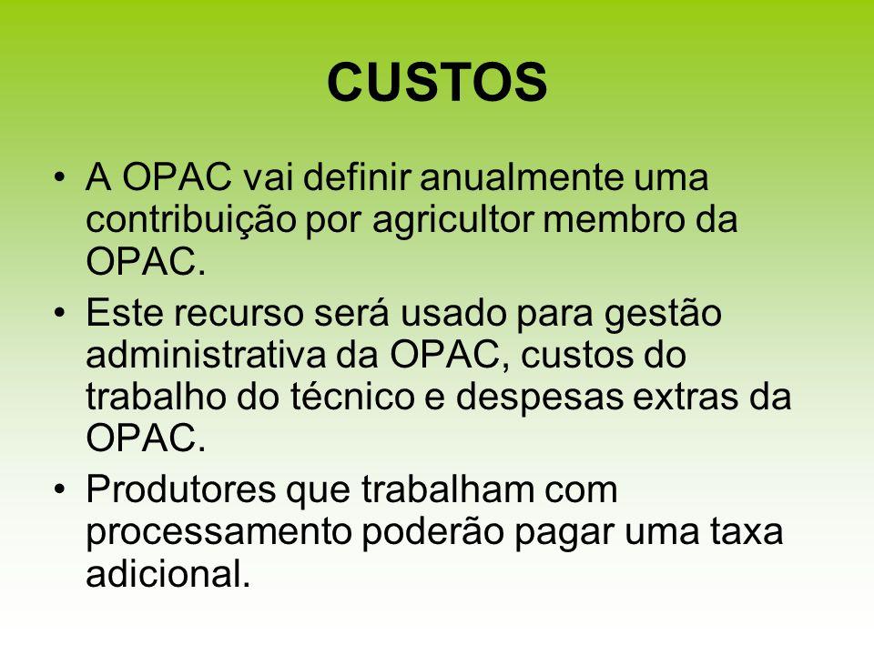CUSTOSA OPAC vai definir anualmente uma contribuição por agricultor membro da OPAC.