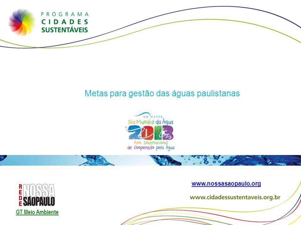 Metas para gestão das águas paulistanas