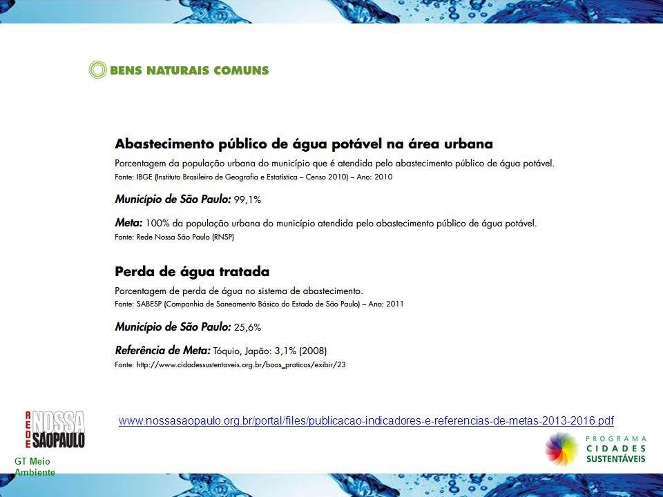 www.nossasaopaulo.org.br/portal/files/publicacao-indicadores-e-referencias-de-metas-2013-2016.pdf GT Meio Ambiente.