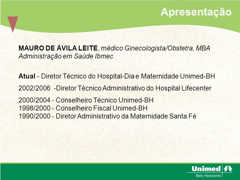Apresentação MAURO DE ÁVILA LEITE, médico Ginecologista/Obstetra, MBA Administração em Saúde Ibmec.