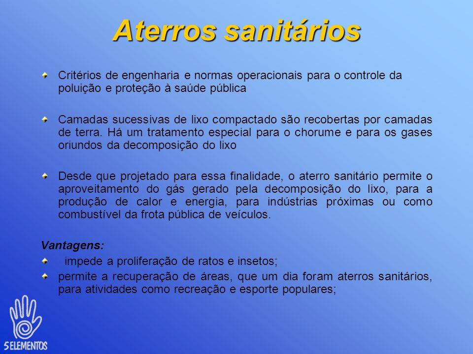 Aterros sanitários Critérios de engenharia e normas operacionais para o controle da poluição e proteção à saúde pública.