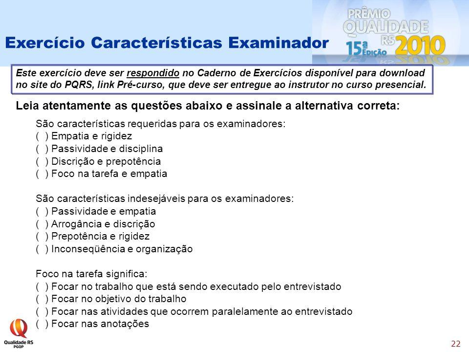 Exercício Características Examinador