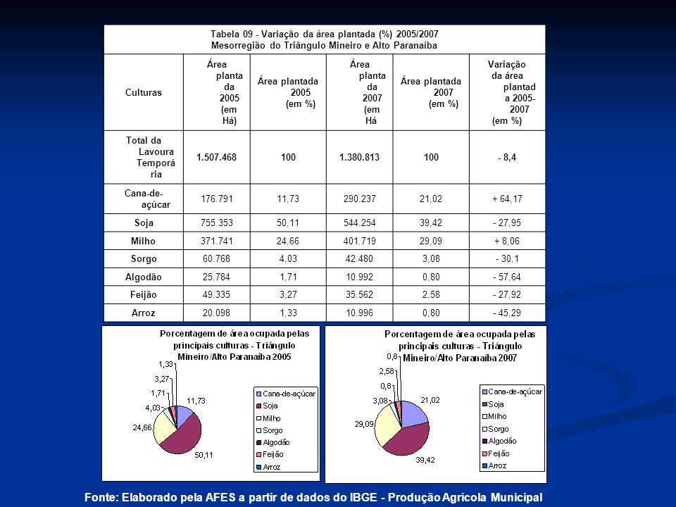 Tabela 09 - Variação da área plantada (%) 2005/2007