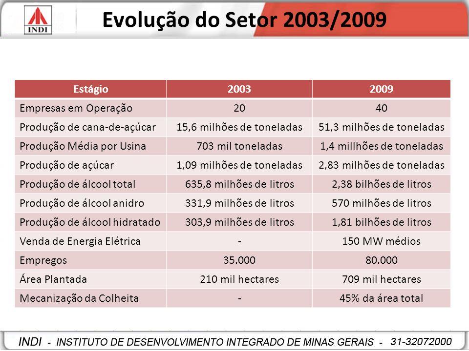 Evolução do Setor 2003/2009 Estágio 2003 2009 Empresas em Operação 20
