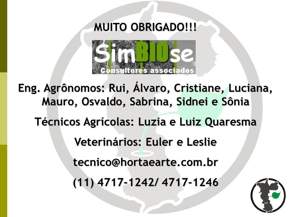 Técnicos Agrícolas: Luzia e Luiz Quaresma Veterinários: Euler e Leslie
