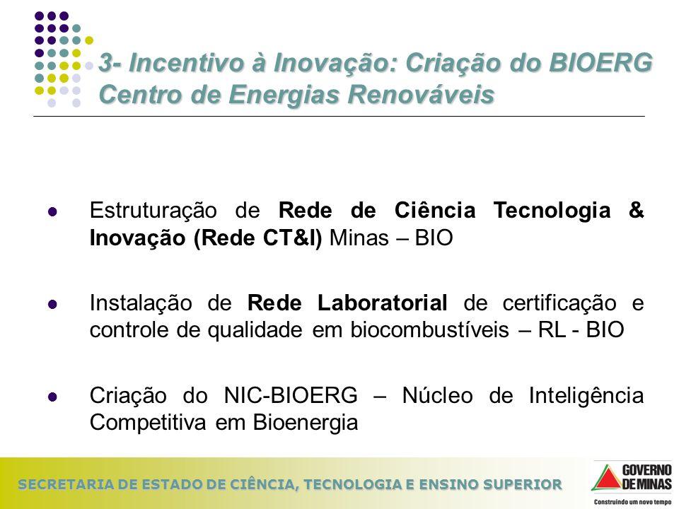 3- Incentivo à Inovação: Criação do BIOERG Centro de Energias Renováveis