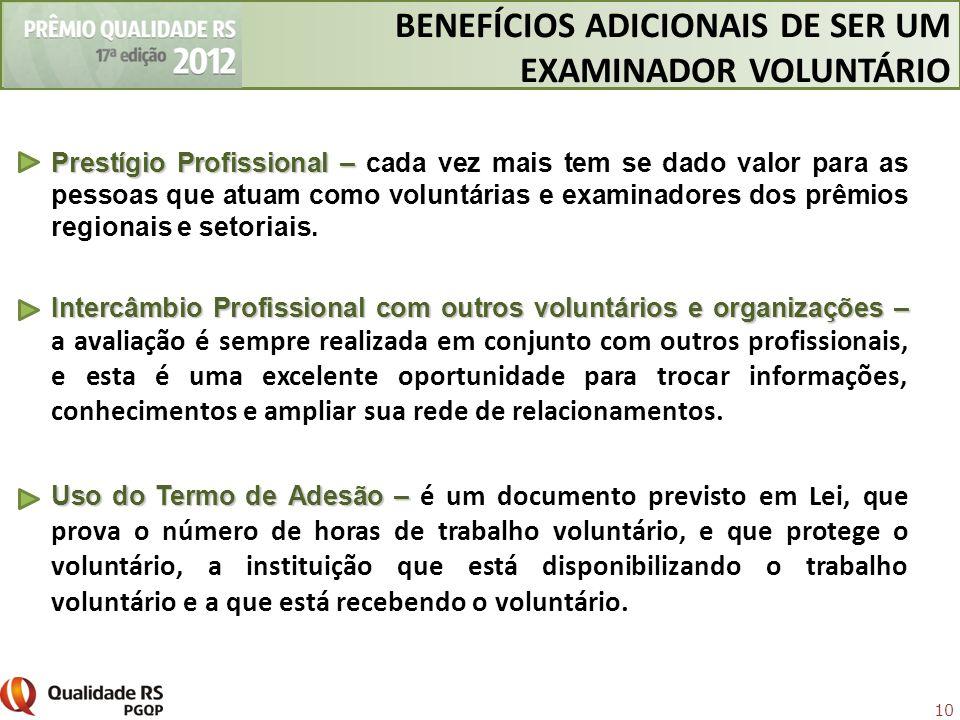 BENEFÍCIOS ADICIONAIS DE SER UM EXAMINADOR VOLUNTÁRIO