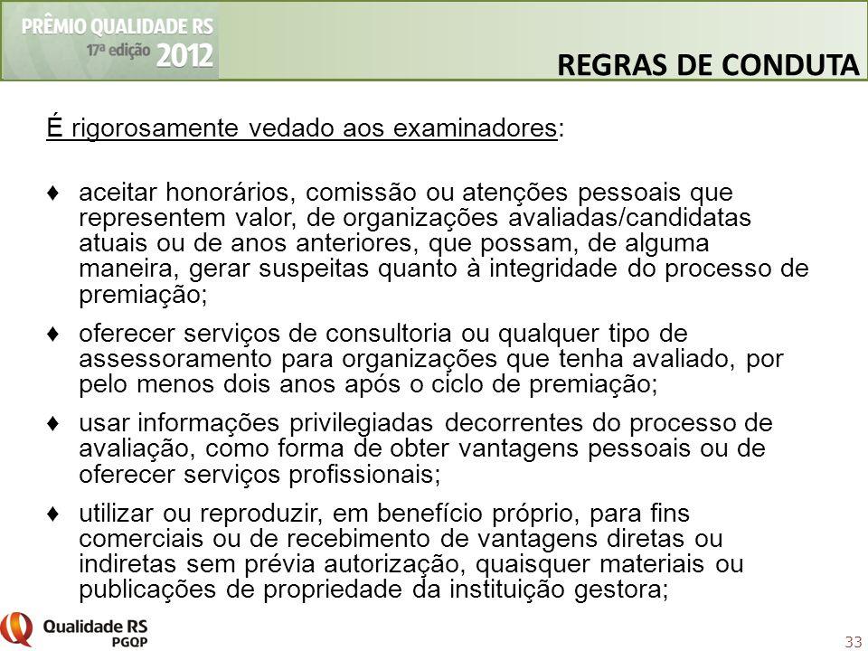 REGRAS DE CONDUTA É rigorosamente vedado aos examinadores:
