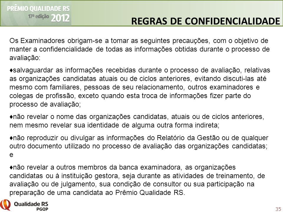 REGRAS DE CONFIDENCIALIDADE