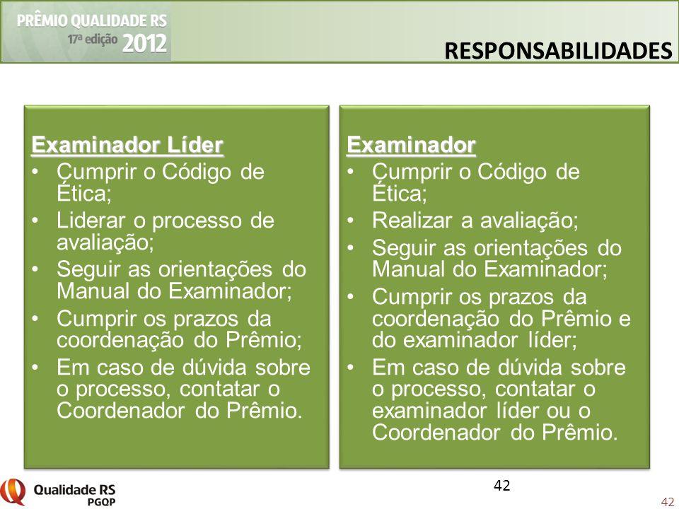 RESPONSABILIDADES Examinador Líder Cumprir o Código de Ética;
