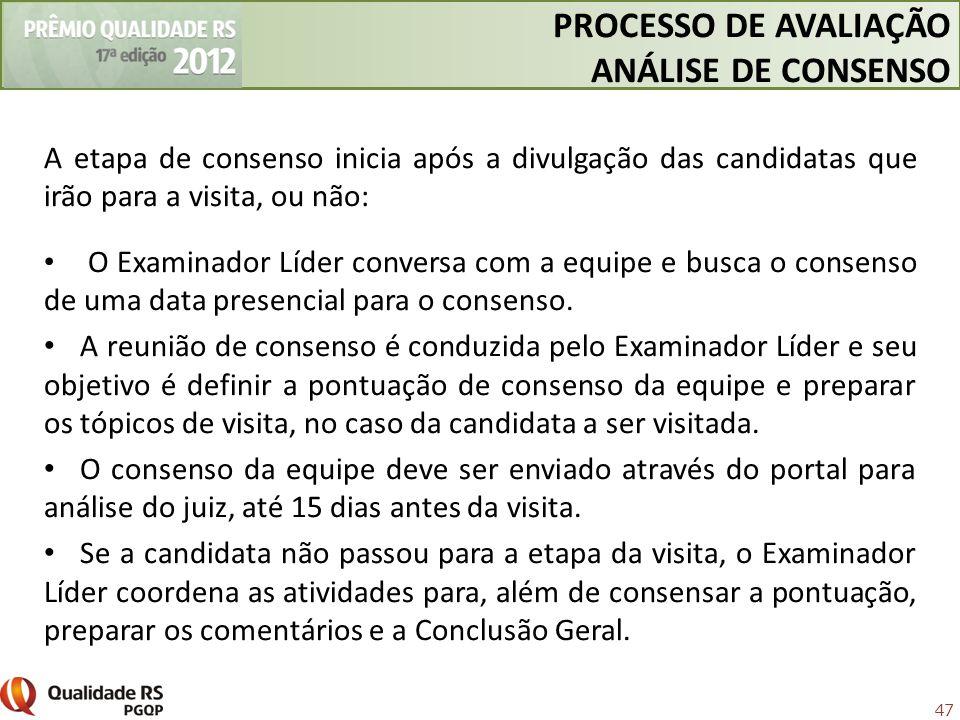 PROCESSO DE AVALIAÇÃO ANÁLISE DE CONSENSO