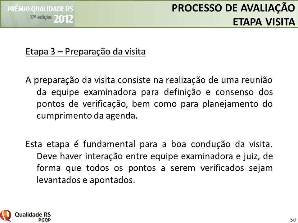 PROCESSO DE AVALIAÇÃO ETAPA VISITA