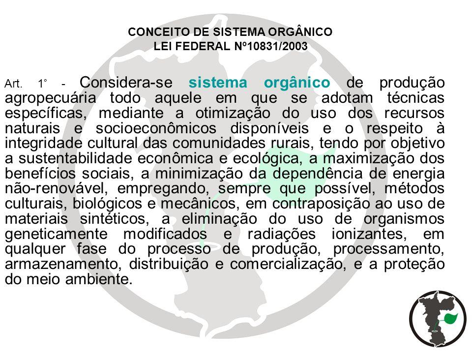 CONCEITO DE SISTEMA ORGÂNICO LEI FEDERAL Nº10831/2003