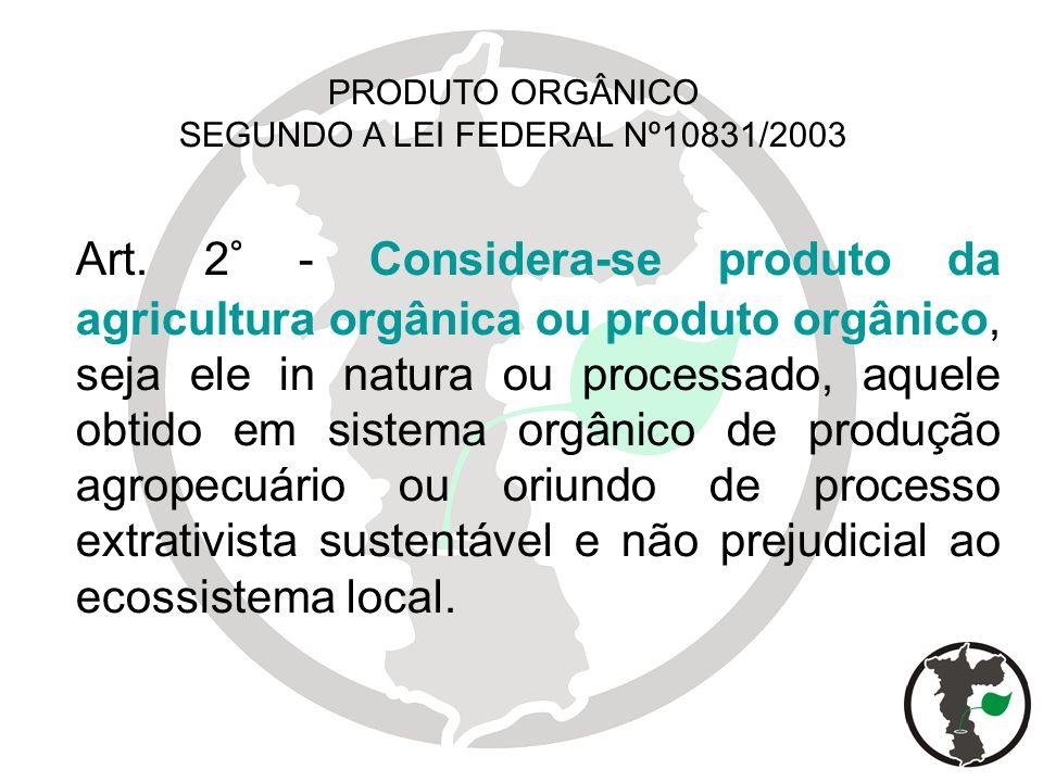 PRODUTO ORGÂNICO SEGUNDO A LEI FEDERAL Nº10831/2003