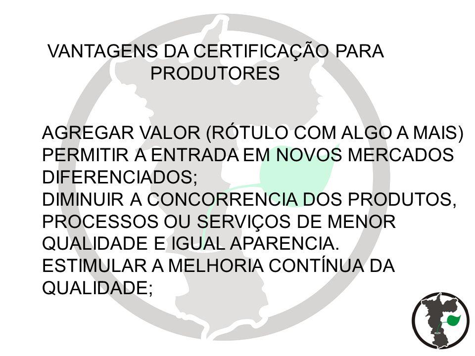 VANTAGENS DA CERTIFICAÇÃO PARA PRODUTORES