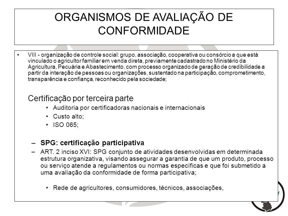 ORGANISMOS DE AVALIAÇÃO DE CONFORMIDADE