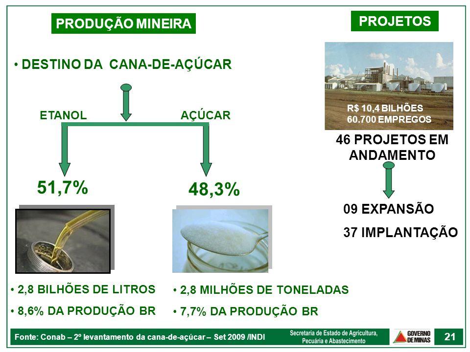 51,7% 48,3% PROJETOS PRODUÇÃO MINEIRA DESTINO DA CANA-DE-AÇÚCAR