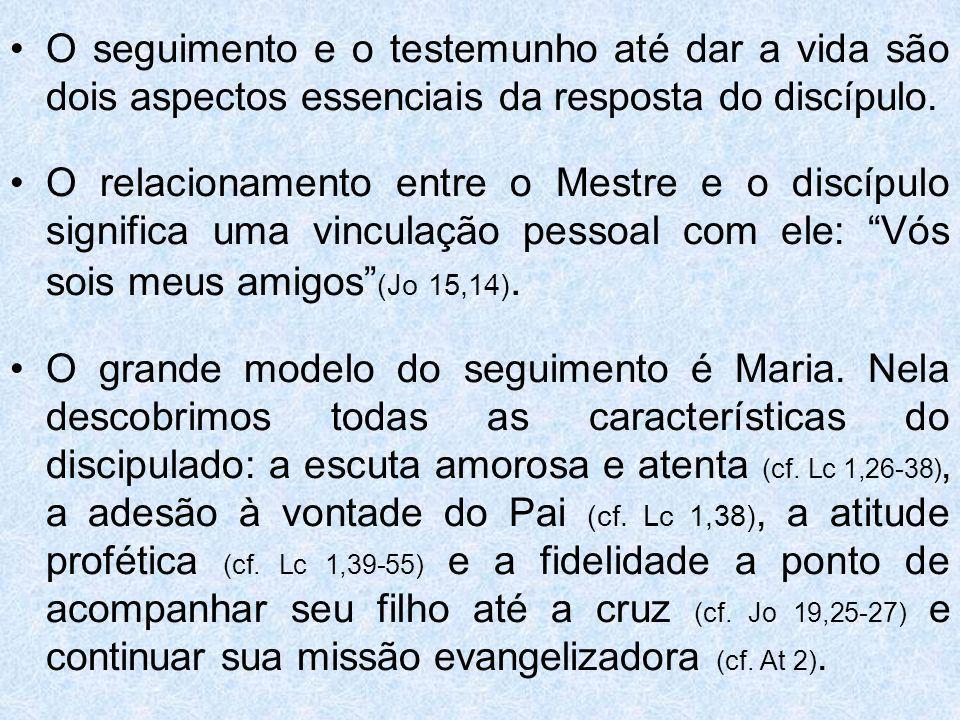 O seguimento e o testemunho até dar a vida são dois aspectos essenciais da resposta do discípulo.