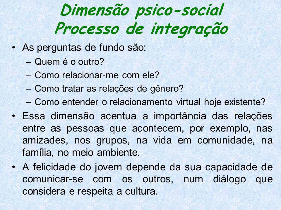 Dimensão psico-social Processo de integração