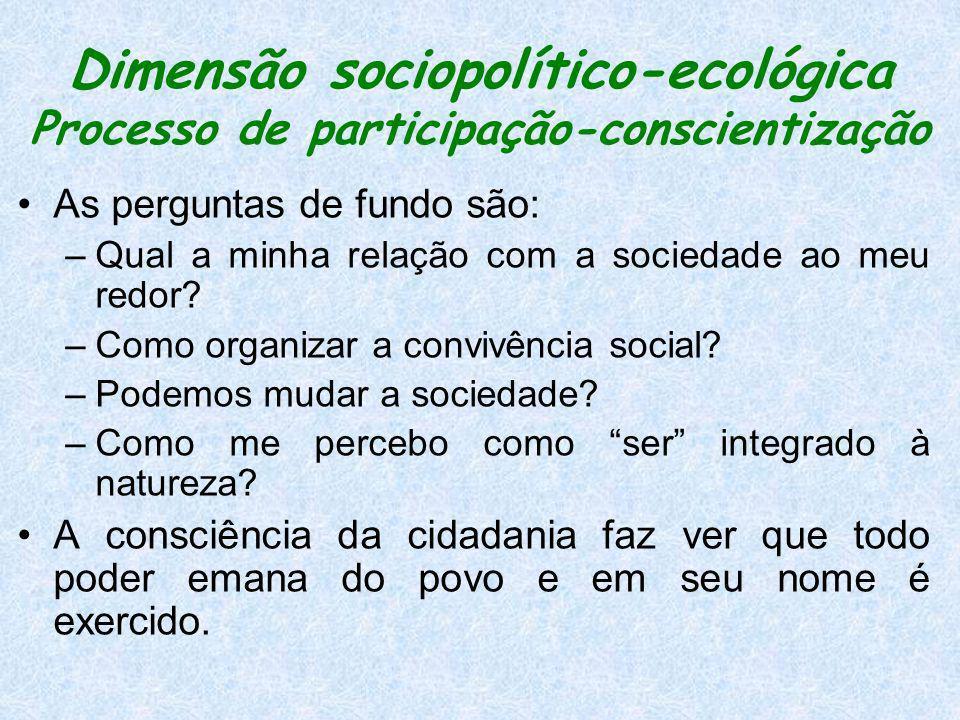 Dimensão sociopolítico-ecológica Processo de participação-conscientização
