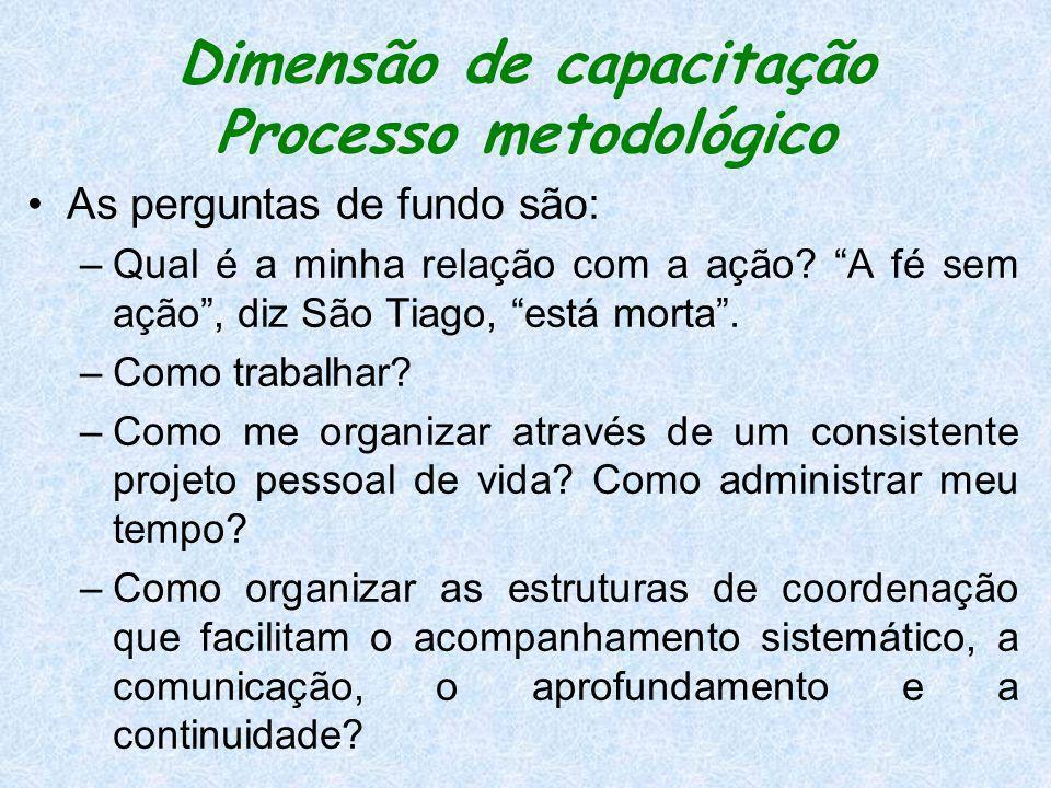 Dimensão de capacitação Processo metodológico