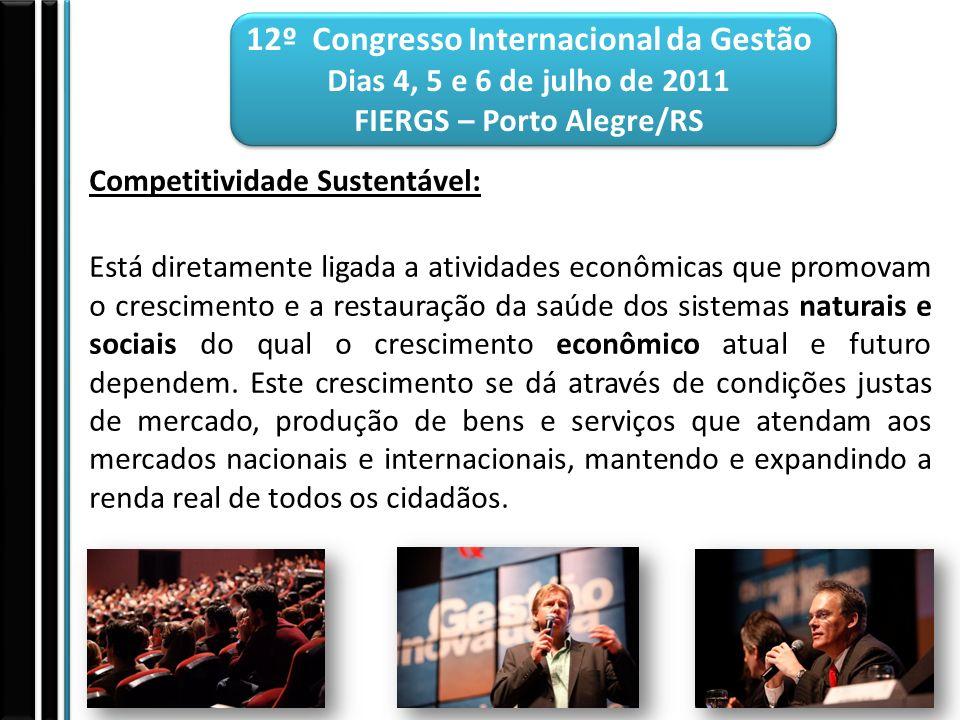 12º Congresso Internacional da Gestão Dias 4, 5 e 6 de julho de 2011 FIERGS – Porto Alegre/RS