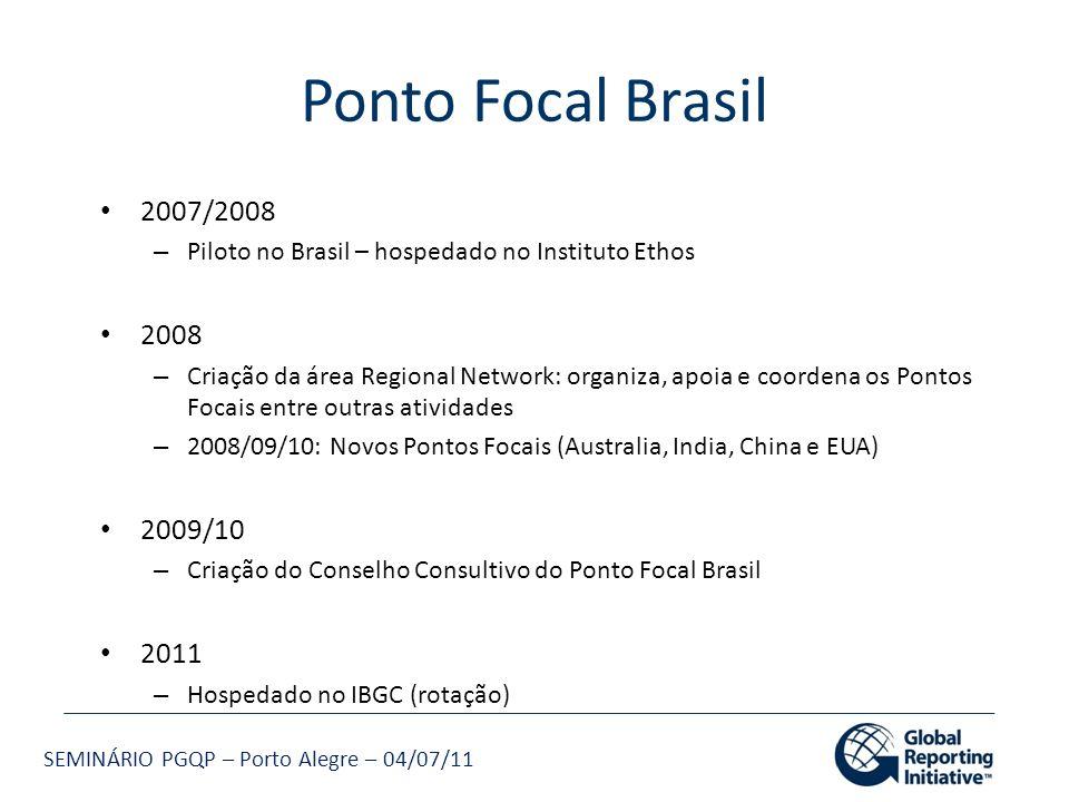 Ponto Focal Brasil 2007/2008. Piloto no Brasil – hospedado no Instituto Ethos. 2008.