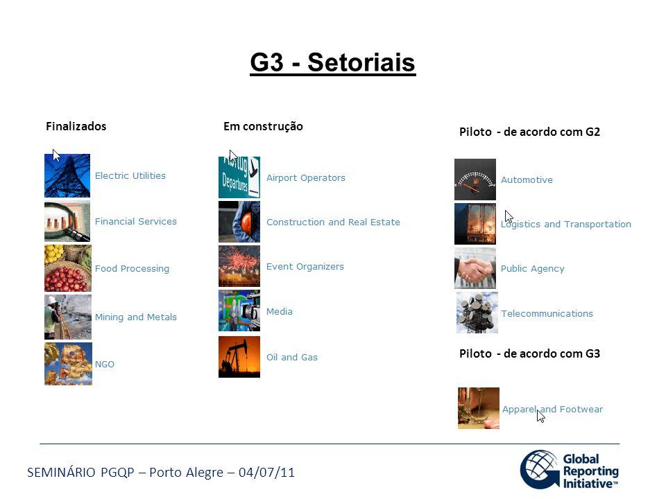 G3 - Setoriais Finalizados Em construção Piloto - de acordo com G2