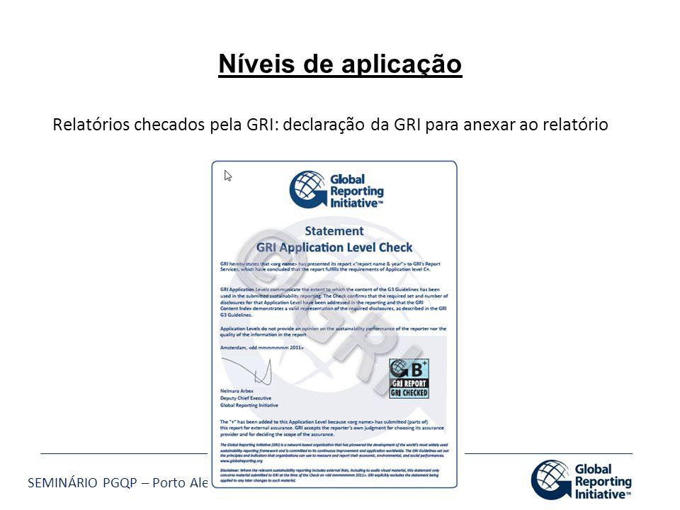 Níveis de aplicação Relatórios checados pela GRI: declaração da GRI para anexar ao relatório