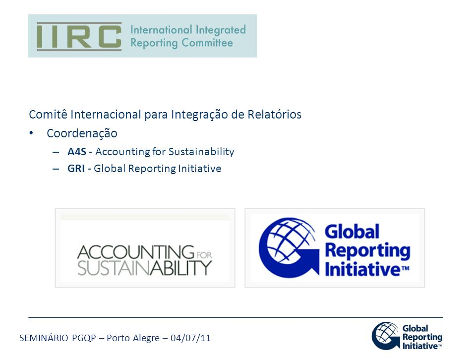 Comitê Internacional para Integração de Relatórios Coordenação