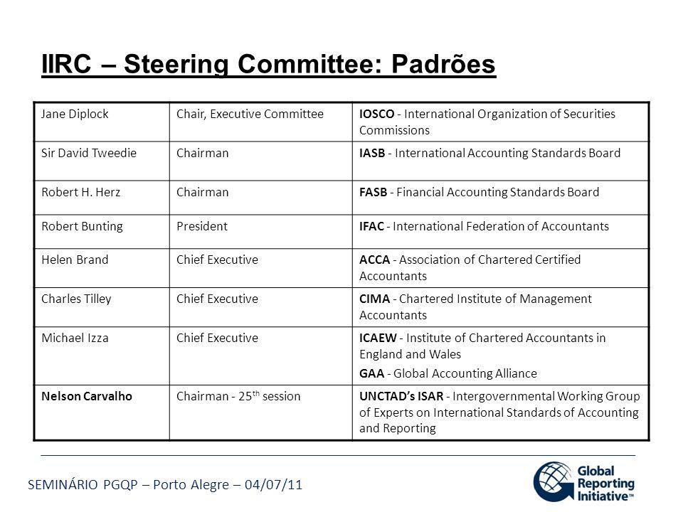 IIRC – Steering Committee: Padrões